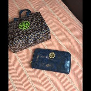 Tory Burch blue and black alligator print wallet
